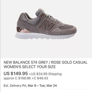 New Balance 574 Rose gold limited edition ( NEW! )